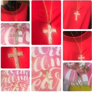 Jewelry - LARGE CRYSTAL CROSS RELIGIOUS NECKLACE
